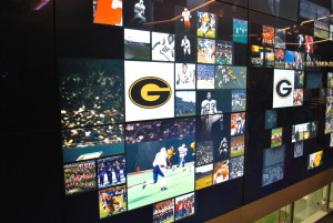 Find your favorite college team and see game highlights and photos on the interactive video monitor wall.