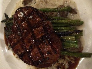 Filet Mignon with truffled risotto, grilled asparagus & demiglaze